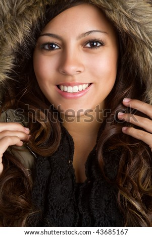 Winter Coat Girl - stock photo