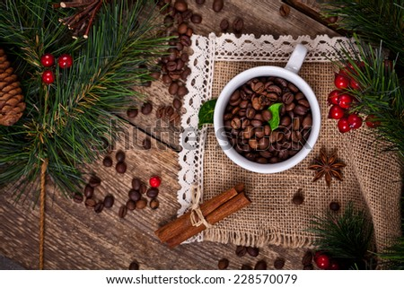 winter coffee with christmas background