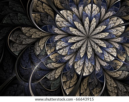 Winter cold fractal flower - stock photo