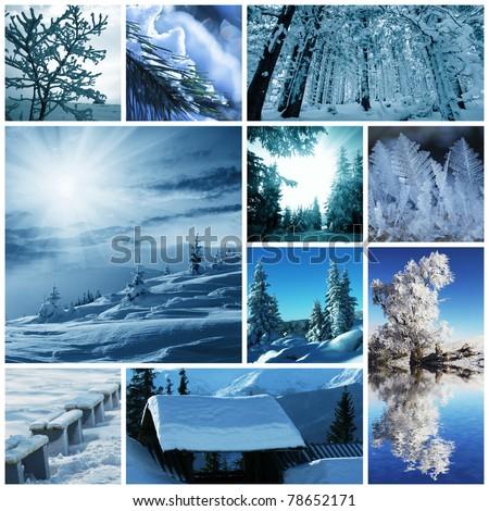 Winter collage - stock photo
