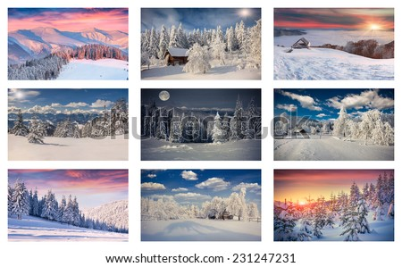 Winter collage with 9 different Christmas landscapes. Carpathian region, Ukraine, Europe. - stock photo