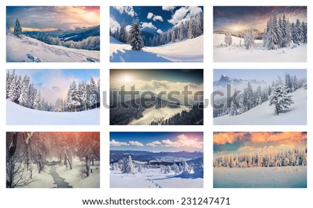 Winter collage with 9 different Christmas landscapes. Carpathian region, Ukraine, Europe.
