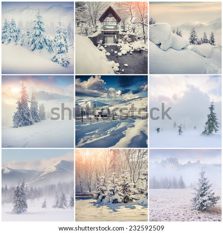 Winter collage with 9 square Christmas landscapes. Carpathian region, Ukraine, Europe.