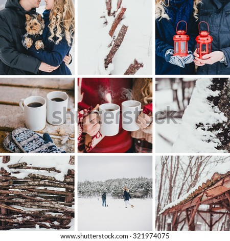 Winter collage with young couple, their dog and snowy forest - stock photo