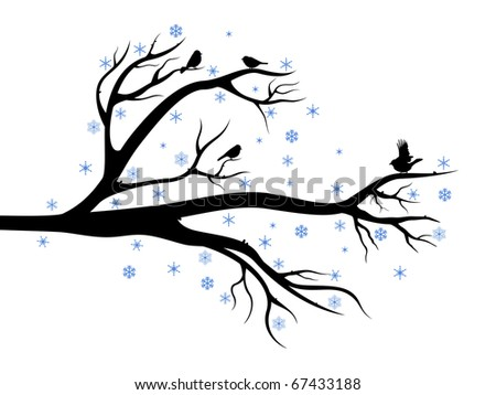 Winter composition with branch of tree and birds on it - stock photo