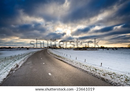 winter country road in the netherlands