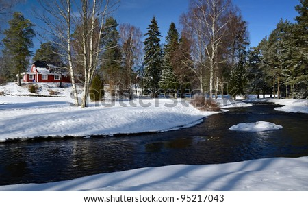 Winter countryside's Swedish landscape - stock photo
