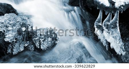 Winter creek in the national park Sumava - Czech Republic - stock photo