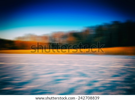 Winter crops horizon forest landscape abstraction - stock photo