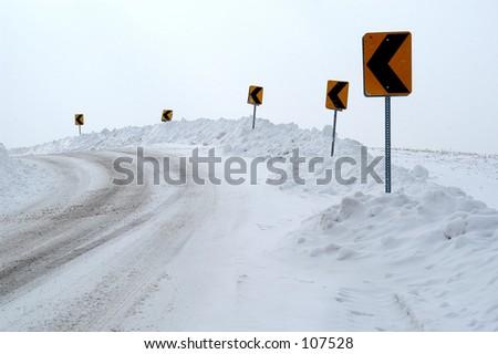 Winter curve - stock photo