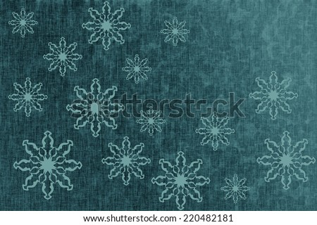 Winter dark turquoise texture, christmas background, card with snowflakes
