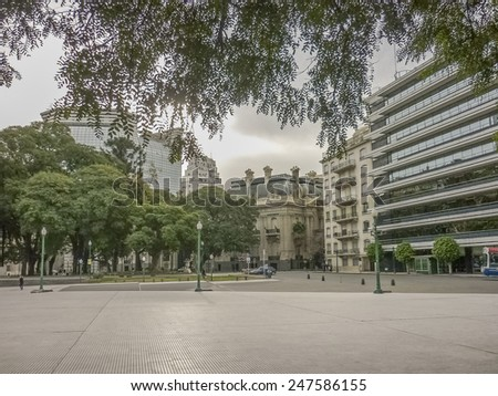 Winter day urban scene with eclectic style architecture in Buenos Aires, the capital city of Argentina in South America. - stock photo