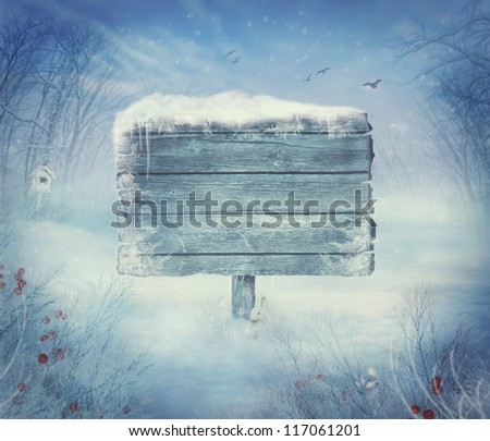 Winter design background - Christmas valley with sign for copyspace. Wooden sign in snow valley with woods,  tree, rabbit, holly and bird. Space for your winter text. Winter background - stock photo