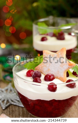 winter dessert with cranberries, cream and cookies - stock photo