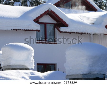 Winter detail; big snow on a roof