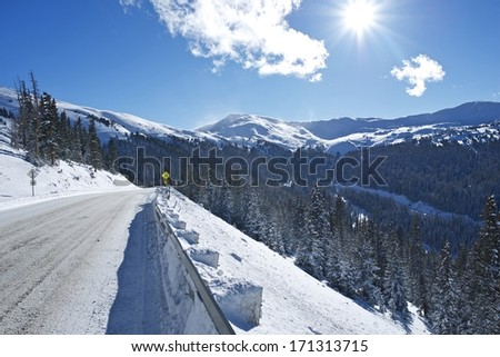 Autumn Snow On Mountain Road Stock Photo - Image: 3375834