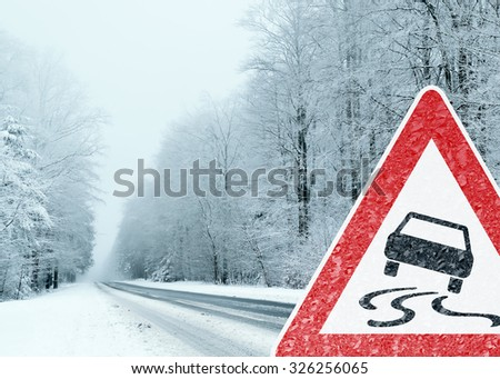 Winter Driving - Caution Risk of Snow and Ice - stock photo