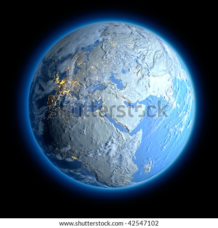 Winter Earth. All the continents are covered with snow and signs of life can only see the lights of cities - stock photo