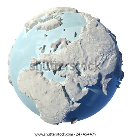 Winter earth isolated on white background. 3d render. Continent Europe. Elements of this image furnished by NASA