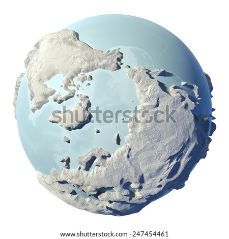 Winter earth isolated on white background. 3d render. North Pole. Elements of this image furnished by NASA