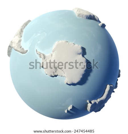 Winter earth isolated on white background. 3d render. South Pole. Elements of this image furnished by NASA - stock photo