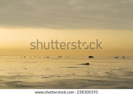 Winter evening at sea - stock photo