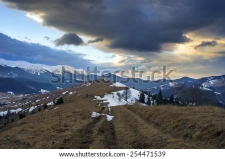 Winter evening mountain plateau landscape (Carpathian, Ukraine) - stock photo