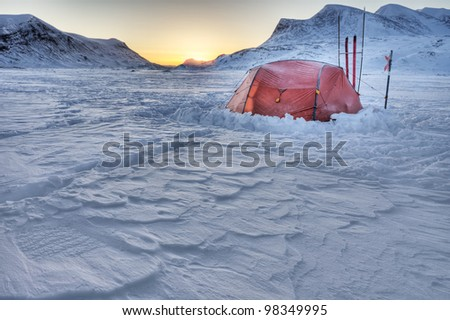 Winter Expedition on the Morning - stock photo