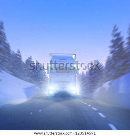 Winter Express Delivery snowy Mountain Street - stock photo
