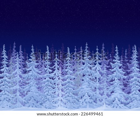 Winter fairy tale forest on the background of the starry sky. The background for greeting cards - stock photo