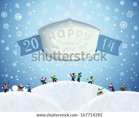 Winter fairytale landscape of New Year holidays with text in the slot and children playing in snow. Raster illustration - stock photo
