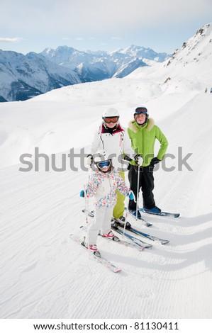Winter - family ski team - stock photo