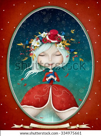 Winter Fantasy illustration or greeting card with a beautiful Snow Maiden girl  - stock photo