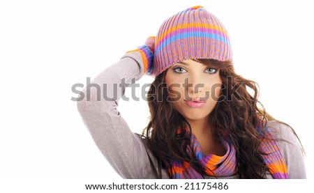 Winter fashion girl isolated on white background