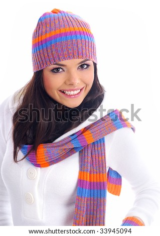 Winter fashion girl . isolated over white - stock photo