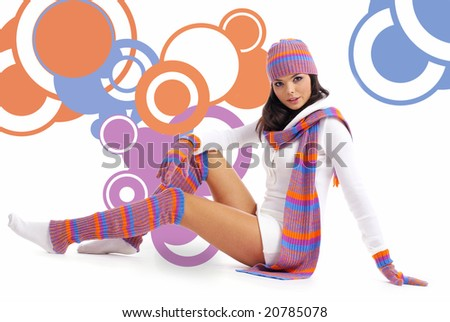 Winter fashion girl  over abstract round modern design background - stock photo