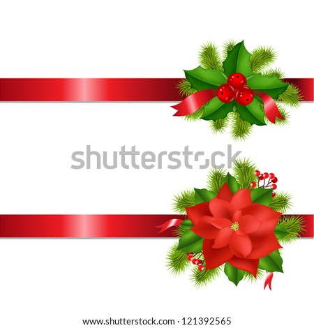 Winter Flower And Berry With Ribbons Isolated On White Background - stock photo