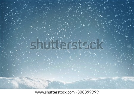 Winter flying snow and snowdrift with soft focus - stock photo