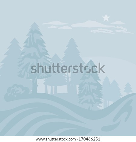 Winter foggy landscape with mountain forest