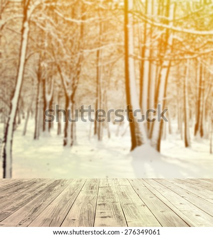 Winter forest and wooden floor - stock photo