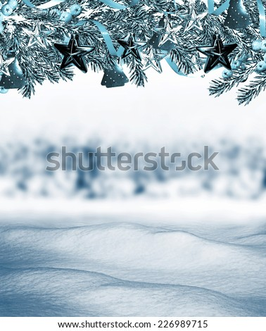 winter forest. Christmas card - stock photo