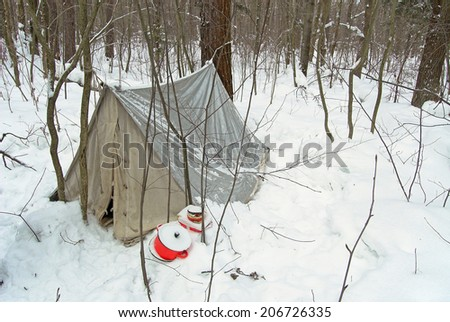 Winter forest, old tent - stock photo