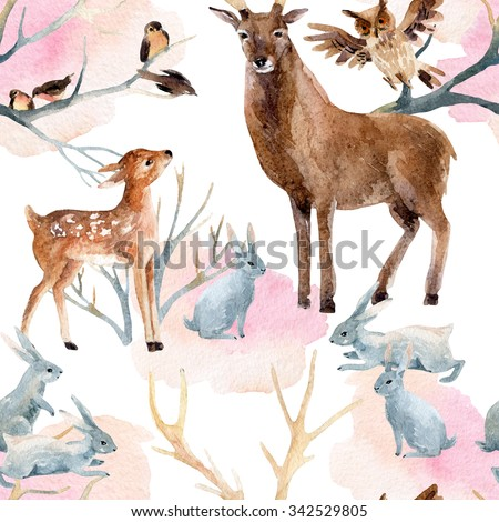 Winter forest seamless pattern. Deer with fawn, rabbits, birds in  winter. Hand painted illustration on white background - stock photo