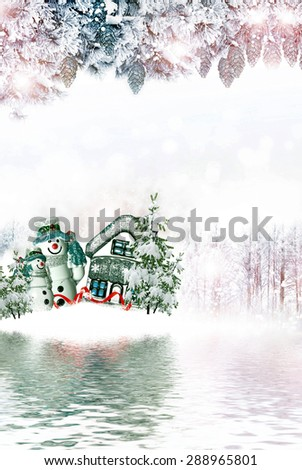 winter forest. Snowman and house. Christmas card  - stock photo
