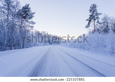 Winter forest with road covered with snow - during sunset - stock photo