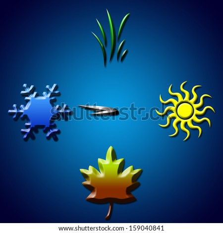 Winter. Four seasons concept in shape of clock - stock photo