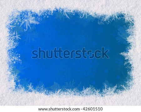 Winter frame for the congratulations. The blue background and natural snow. Space for text - stock photo