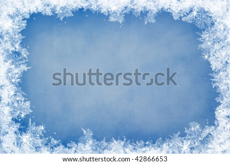 Winter frame of gleaming ice, in the center of the composition aged textured background - stock photo