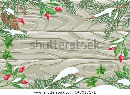 Winter frame wooden texture board. Winter background, christmas frame, winter border, decoration xmas plank, ornament fir, natural decor, decorative blank illustration. Raster version - stock photo