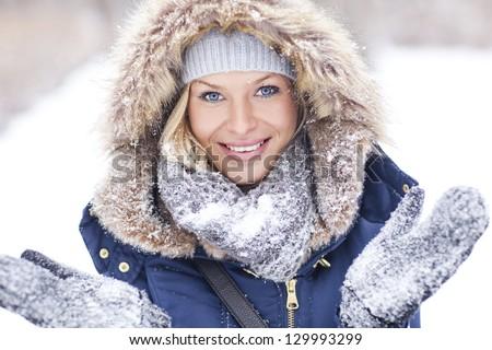 Winter frenzy. Portrait of a beautiful woman. - stock photo